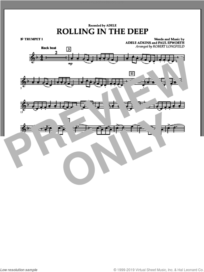 Rolling in the Deep sheet music for concert band (Bb trumpet 1) by Paul Epworth, Adele, Adele Adkins and Robert Longfield. Score Image Preview.