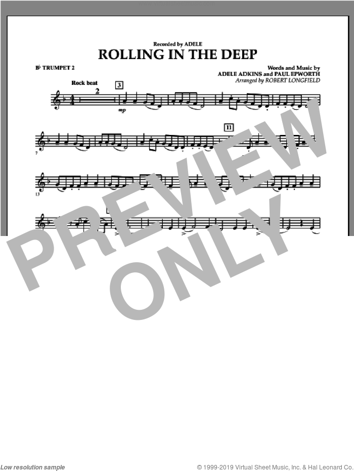 Rolling in the Deep sheet music for concert band (Bb trumpet 2) by Adele, Adele Adkins, Paul Epworth and Robert Longfield, intermediate