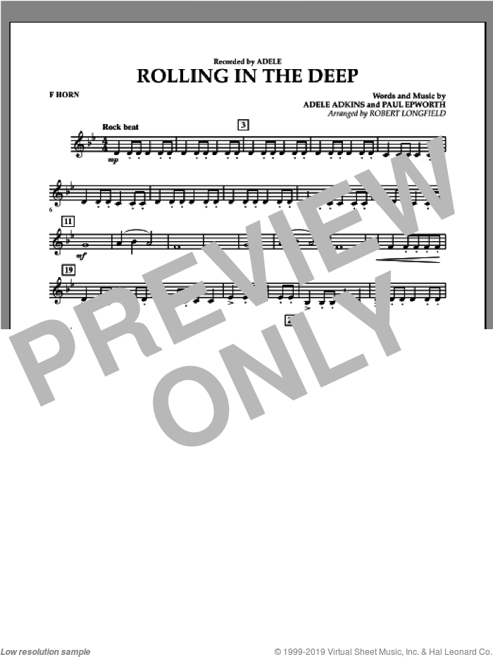 Rolling in the Deep sheet music for concert band (f horn) by Adele, Paul Epworth and Robert Longfield, intermediate. Score Image Preview.