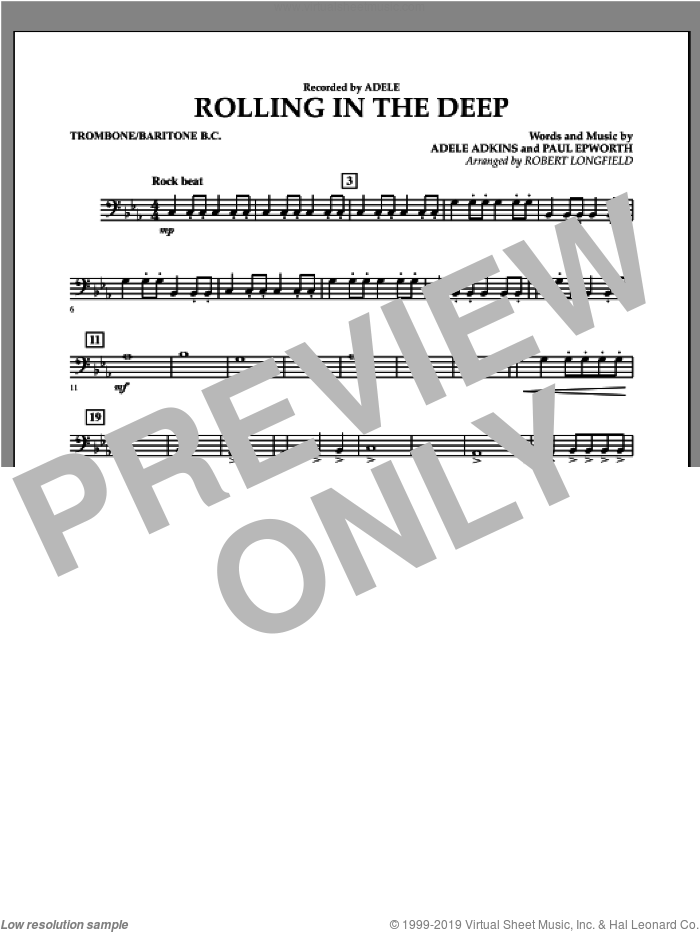 Rolling in the Deep sheet music for concert band (trombone/baritone b.c.) by Adele, Adele Adkins, Paul Epworth and Robert Longfield, intermediate