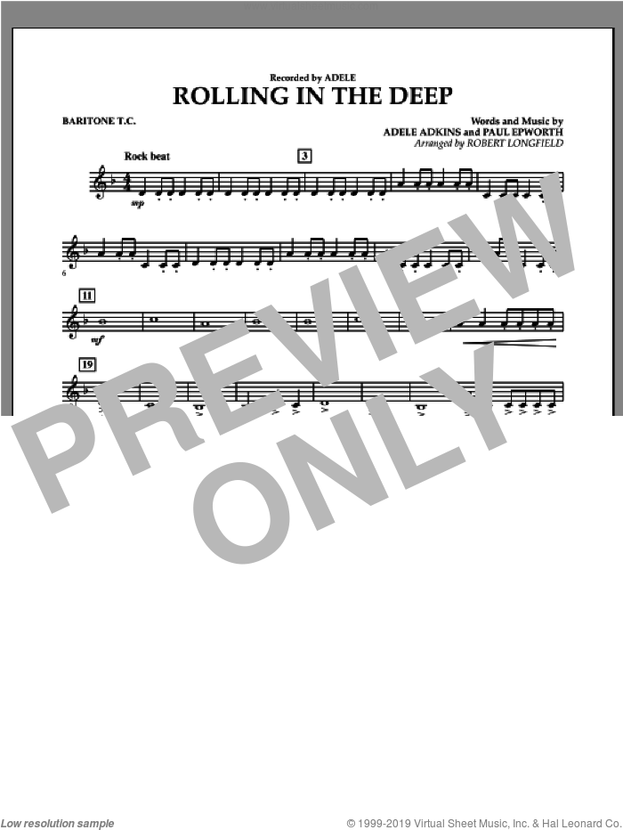 Rolling in the Deep sheet music for concert band (baritone t.c.) by Adele, Adele Adkins, Paul Epworth and Robert Longfield, intermediate. Score Image Preview.