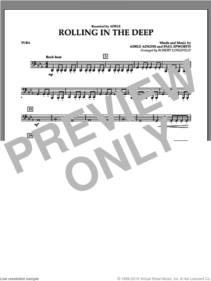 Rolling in the Deep sheet music for concert band (tuba) by Adele, Paul Epworth and Robert Longfield, intermediate concert band (tuba). Score Image Preview.