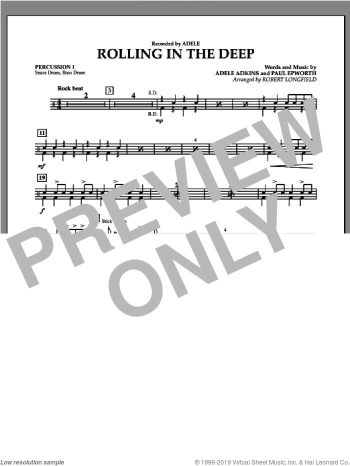 Rolling in the Deep sheet music for concert band (percussion 1) by Adele, Paul Epworth and Robert Longfield. Score Image Preview.