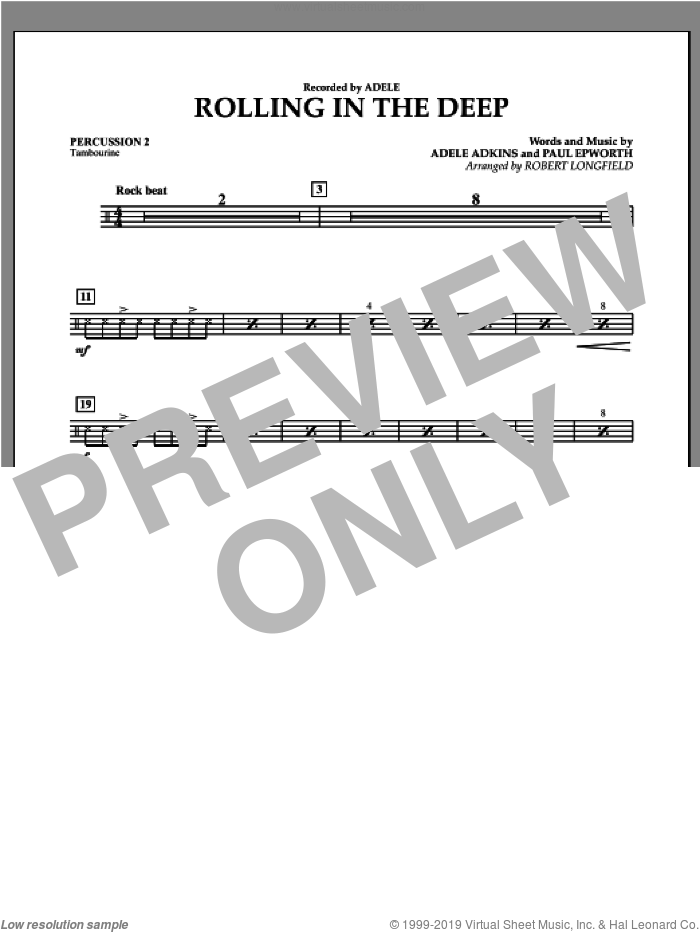Rolling in the Deep sheet music for concert band (percussion 2) by Paul Epworth