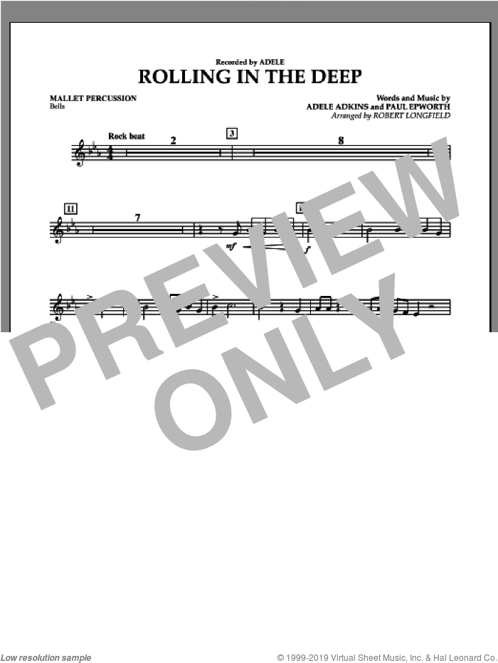 Rolling in the Deep sheet music for concert band (mallet percussion) by Paul Epworth, Adele, Adele Adkins and Robert Longfield. Score Image Preview.
