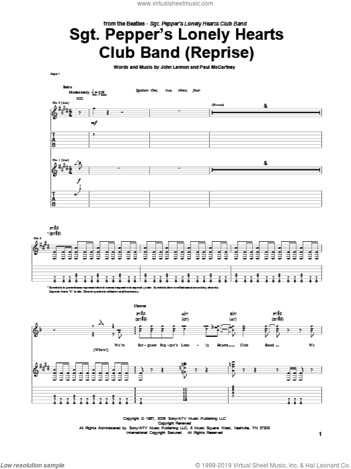 Sgt. Pepper's Lonely Hearts Club Band (Reprise) sheet music for guitar (tablature) by The Beatles, John Lennon and Paul McCartney, intermediate
