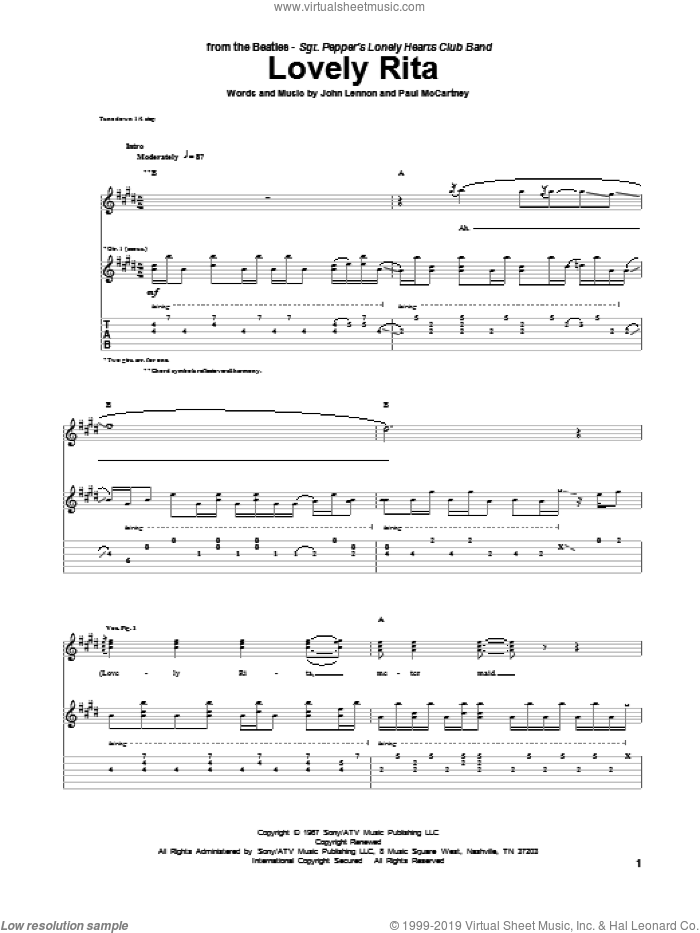 Lovely Rita sheet music for guitar (tablature) by Paul McCartney, John Lennon and The Beatles. Score Image Preview.