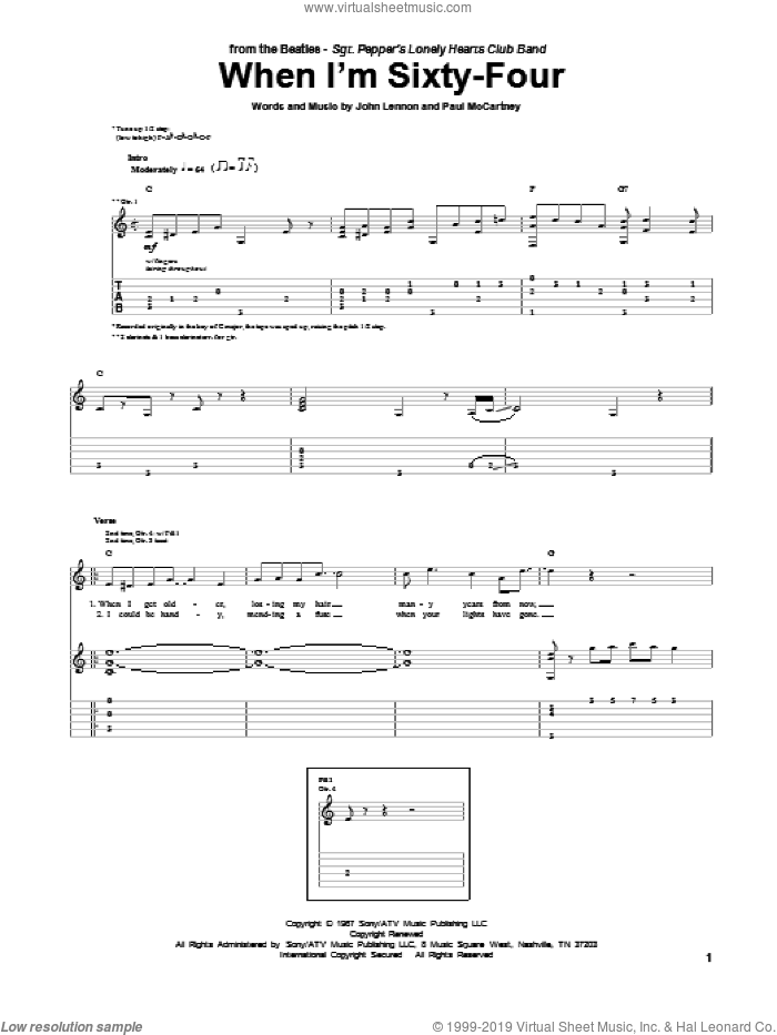When I'm Sixty-Four sheet music for guitar (tablature) by The Beatles, John Lennon and Paul McCartney, intermediate guitar (tablature). Score Image Preview.