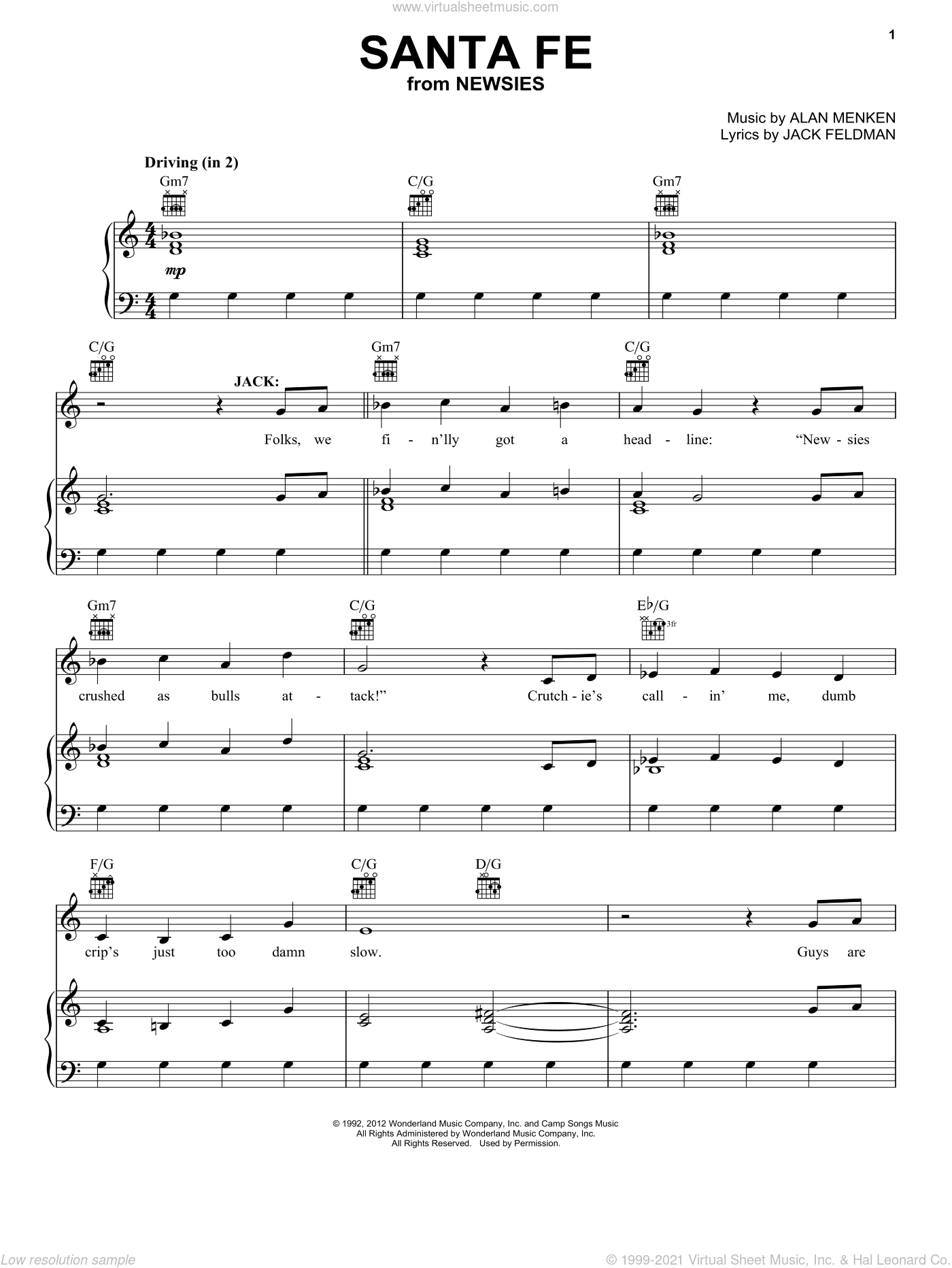 Santa Fe sheet music for voice, piano or guitar by Alan Menken and Jack Feldman. Score Image Preview.