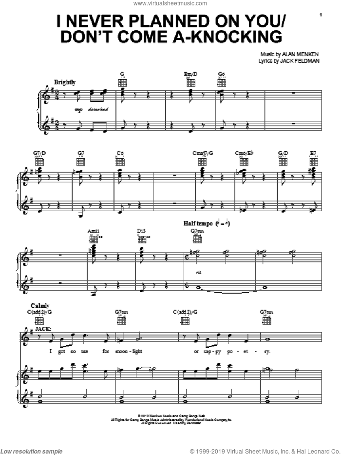 I Never Planned On You/Don't Come A-Knocking sheet music for voice, piano or guitar by Alan Menken and Jack Feldman. Score Image Preview.