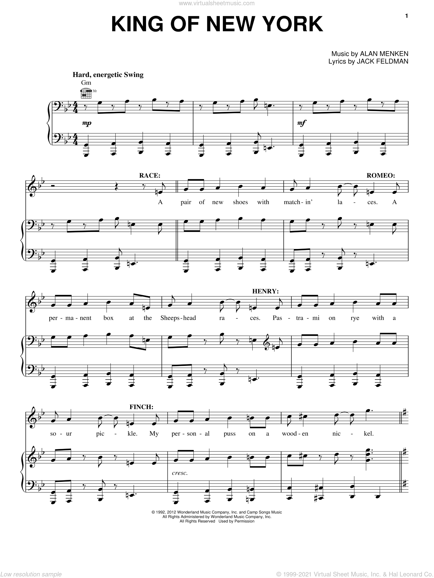 King Of New York sheet music for voice, piano or guitar by Alan Menken and Jack Feldman. Score Image Preview.