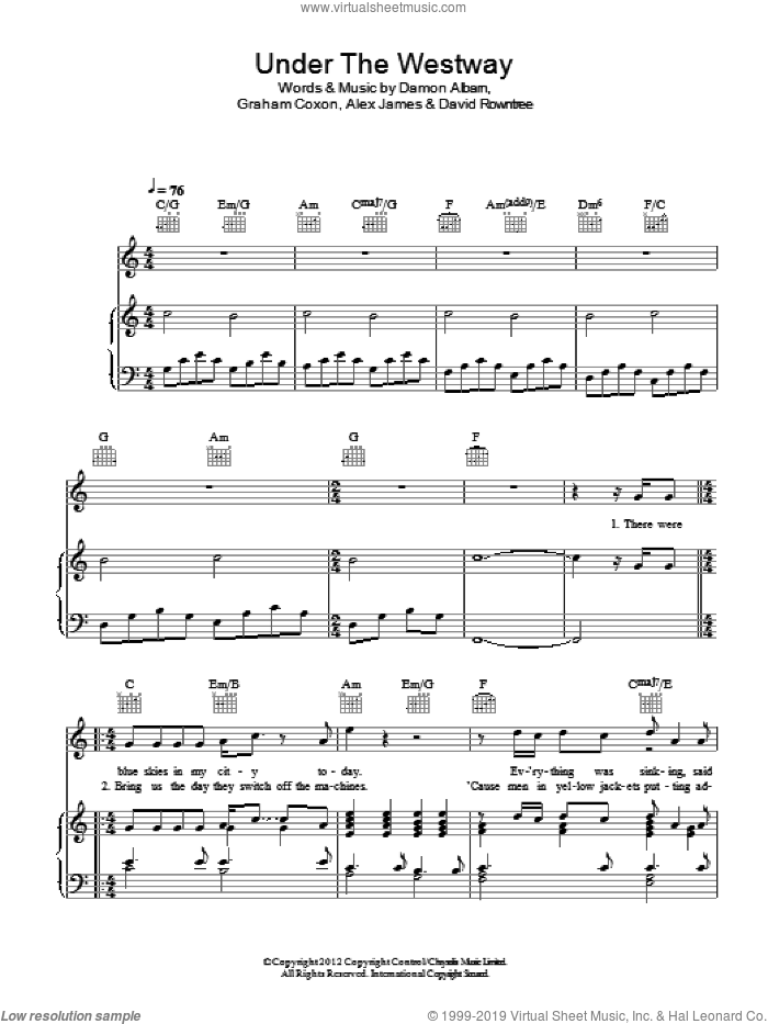 Under The Westway sheet music for voice, piano or guitar by Graham Coxon, Alex James, Blur and Damon Albarn. Score Image Preview.