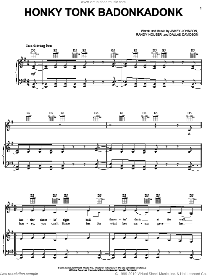 Honky Tonk Badonkadonk sheet music for voice, piano or guitar by Randy Houser, Trace Adkins, Dallas Davidson and Jamey Johnson