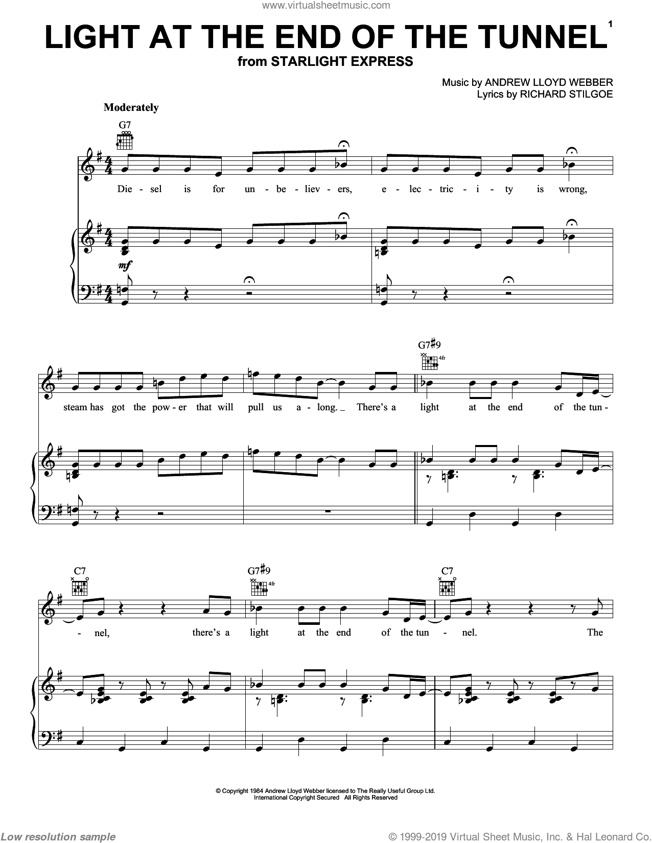 Light At The End Of The Tunnel sheet music for voice, piano or guitar by Andrew Lloyd Webber and Richard Stilgoe, intermediate skill level