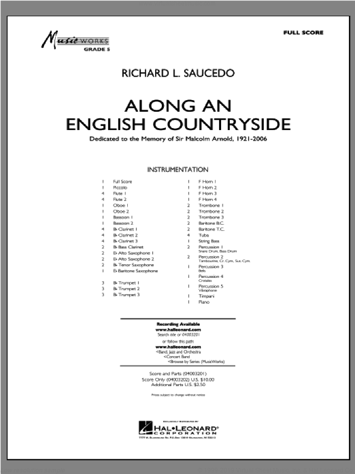 Along an English Countryside sheet music for concert band (full score) by Richard L. Saucedo
