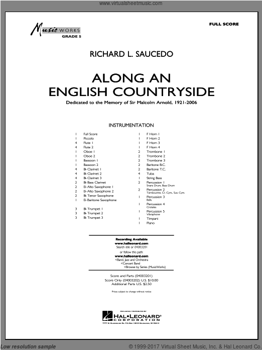 Along an English Countryside (COMPLETE) sheet music for concert band by Richard L. Saucedo