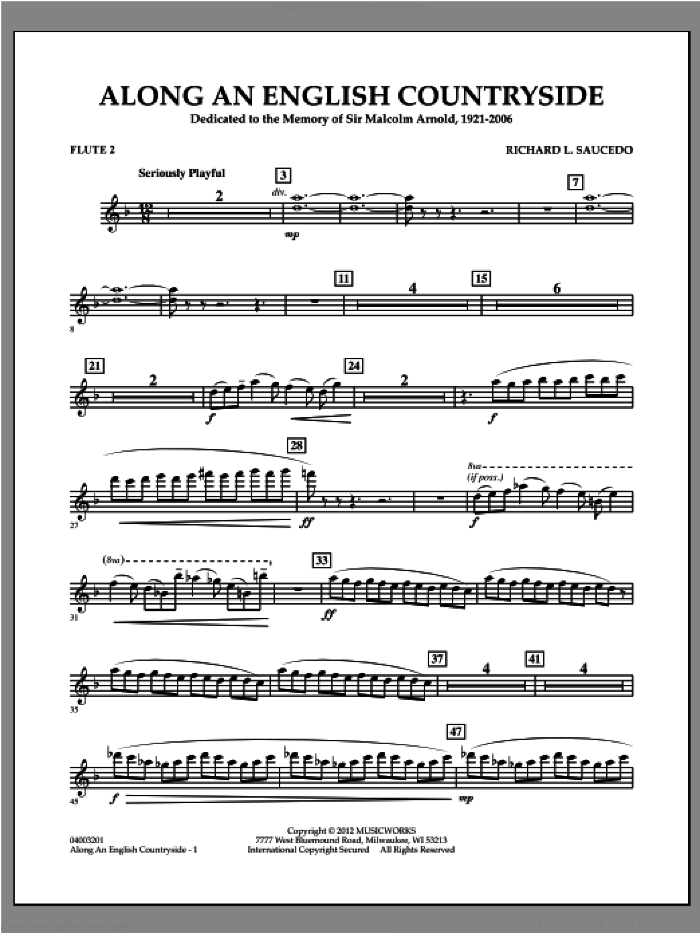 Along an English Countryside sheet music for concert band (flute 2) by Richard L. Saucedo