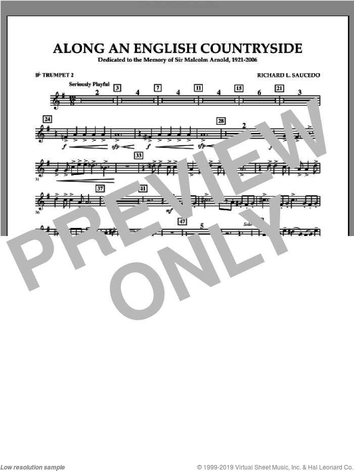 Along an English Countryside sheet music for concert band (Bb trumpet 2) by Richard L. Saucedo