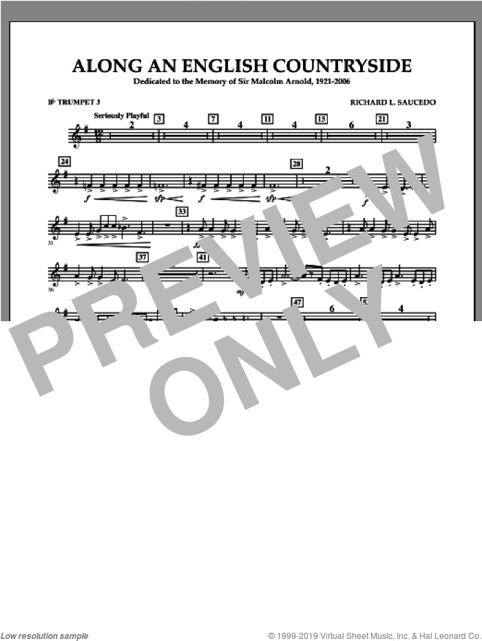Along an English Countryside sheet music for concert band (Bb trumpet 3) by Richard L. Saucedo