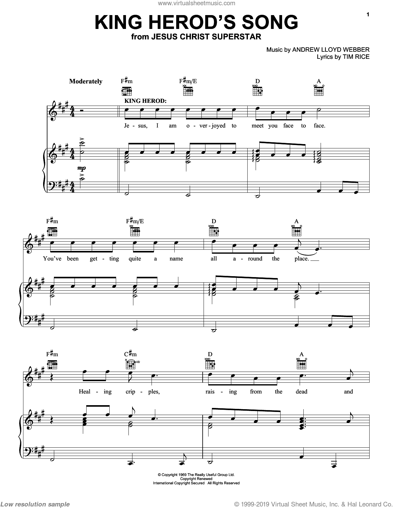 King Herod's Song sheet music for voice, piano or guitar by Andrew Lloyd Webber and Tim Rice, intermediate skill level