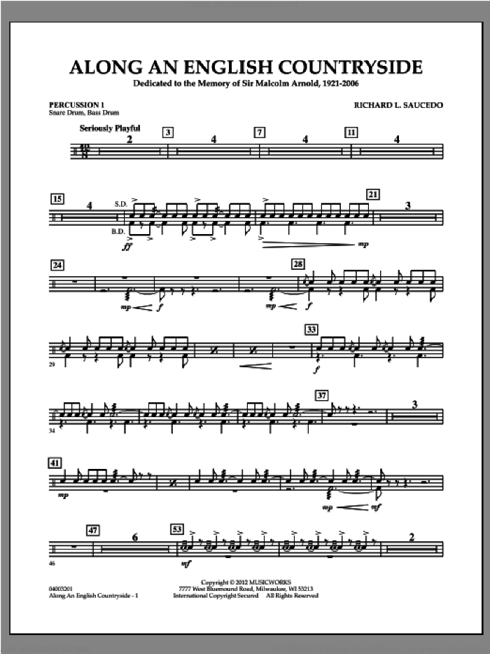 Along an English Countryside sheet music for concert band (percussion 1) by Richard L. Saucedo
