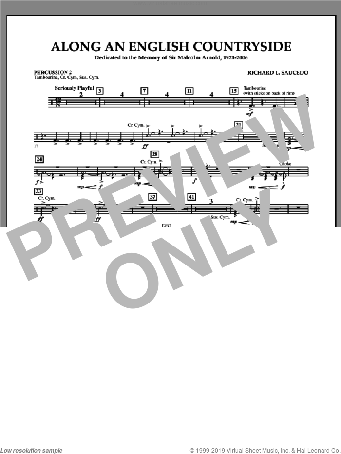 Along an English Countryside sheet music for concert band (percussion 2) by Richard L. Saucedo