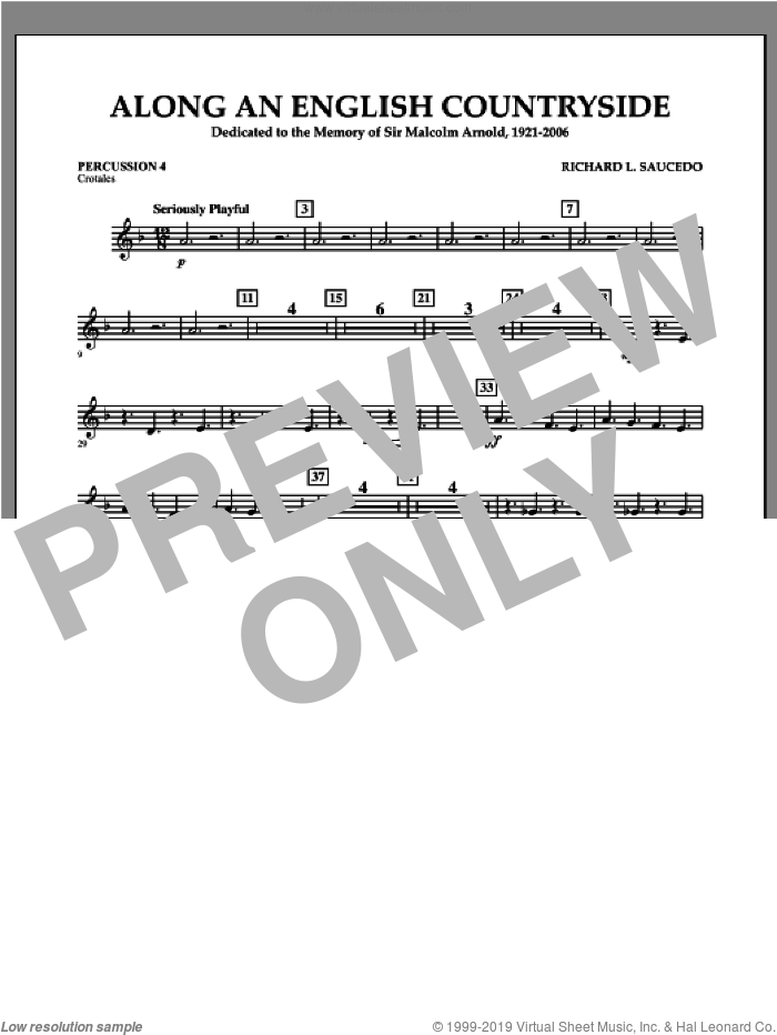 Along an English Countryside sheet music for concert band (percussion 4) by Richard L. Saucedo