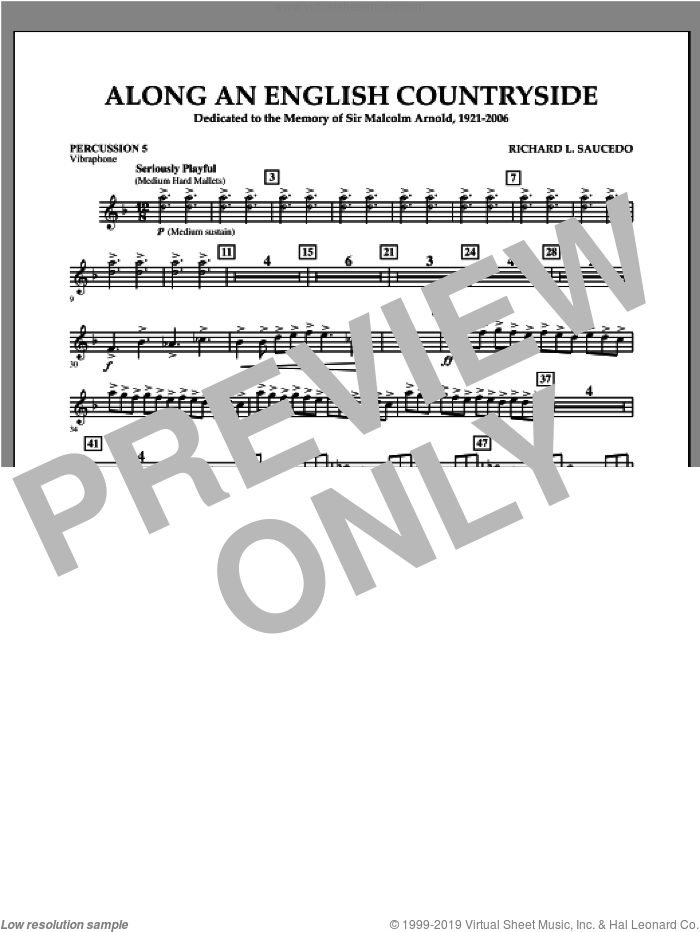 Along an English Countryside sheet music for concert band (percussion 5) by Richard L. Saucedo