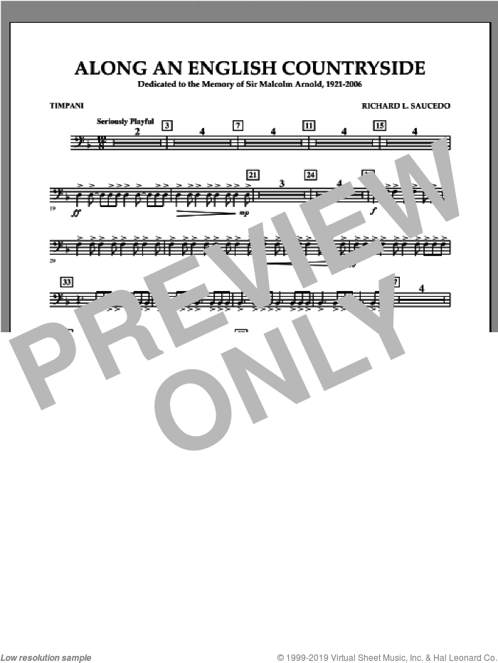 Along an English Countryside sheet music for concert band (timpani) by Richard L. Saucedo