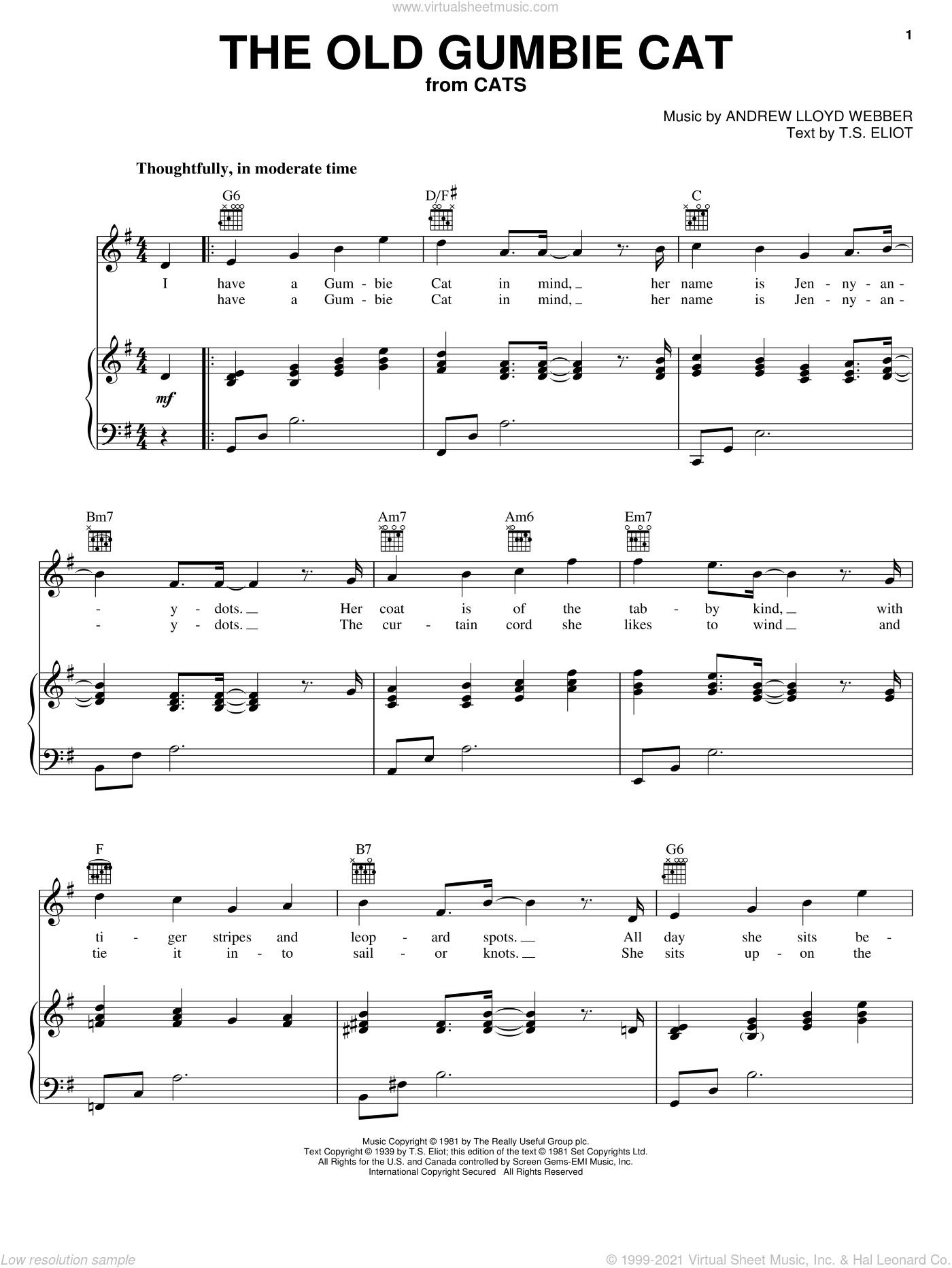 The Old Gumbie Cat sheet music for voice, piano or guitar by T.S. Eliot and Andrew Lloyd Webber. Score Image Preview.