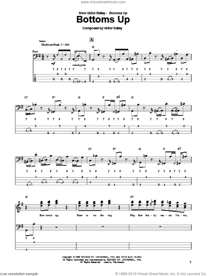 Bottoms Up sheet music for bass (tablature) (bass guitar) by Victor Bailey, intermediate bass (tablature) (bass guitar). Score Image Preview.