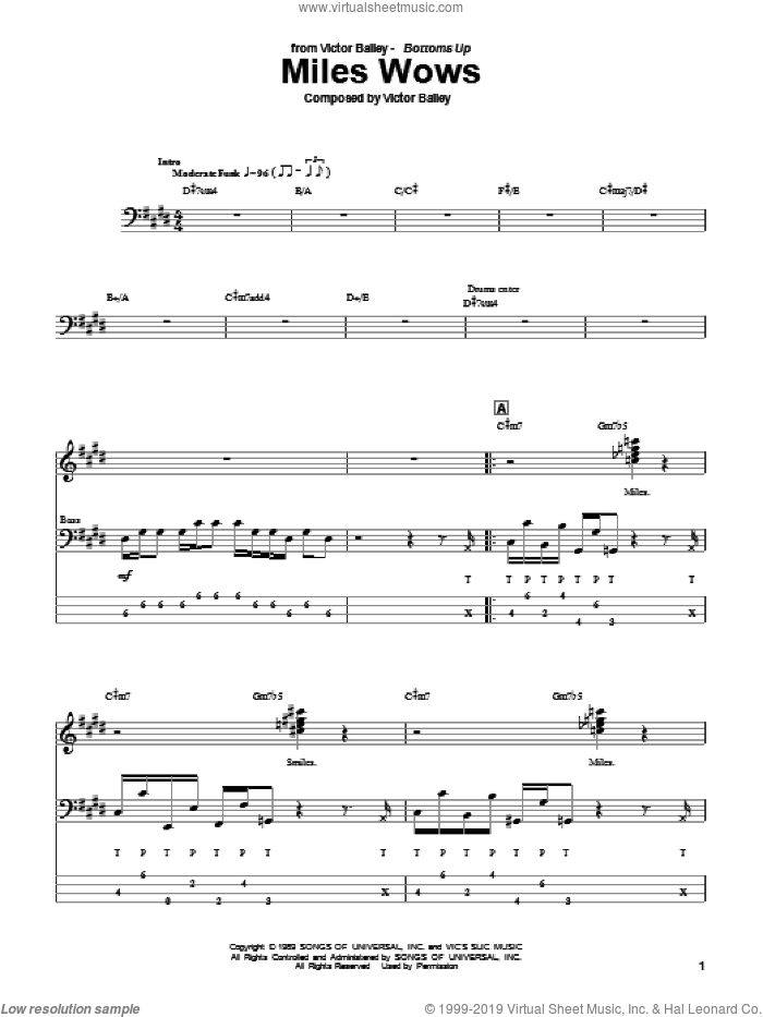 Miles Wows sheet music for bass (tablature) (bass guitar) by Victor Bailey, intermediate skill level