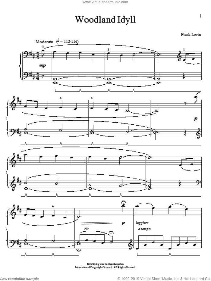Woodland Idyll sheet music for piano solo (elementary) by Frank Levin. Score Image Preview.