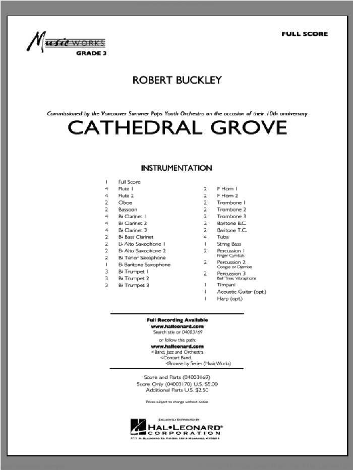 Cathedral Grove (COMPLETE) sheet music for concert band by Robert Buckley, classical score, intermediate. Score Image Preview.
