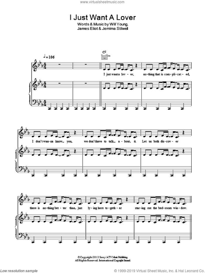 I Just Want A Lover sheet music for voice, piano or guitar by Will Young, James Eliot and Jemima Stilwell, intermediate. Score Image Preview.
