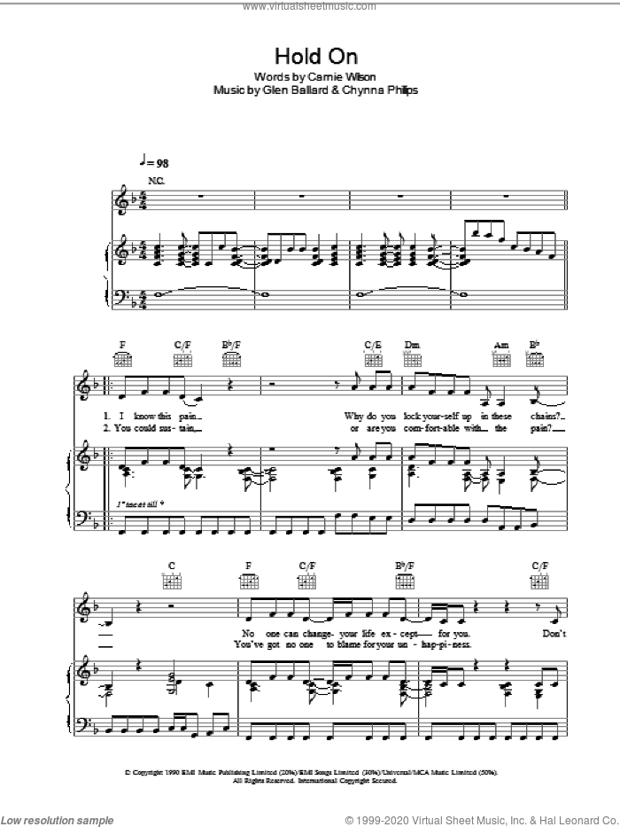 Hold On sheet music for voice, piano or guitar by Wilson Phillips and Glen Ballard. Score Image Preview.