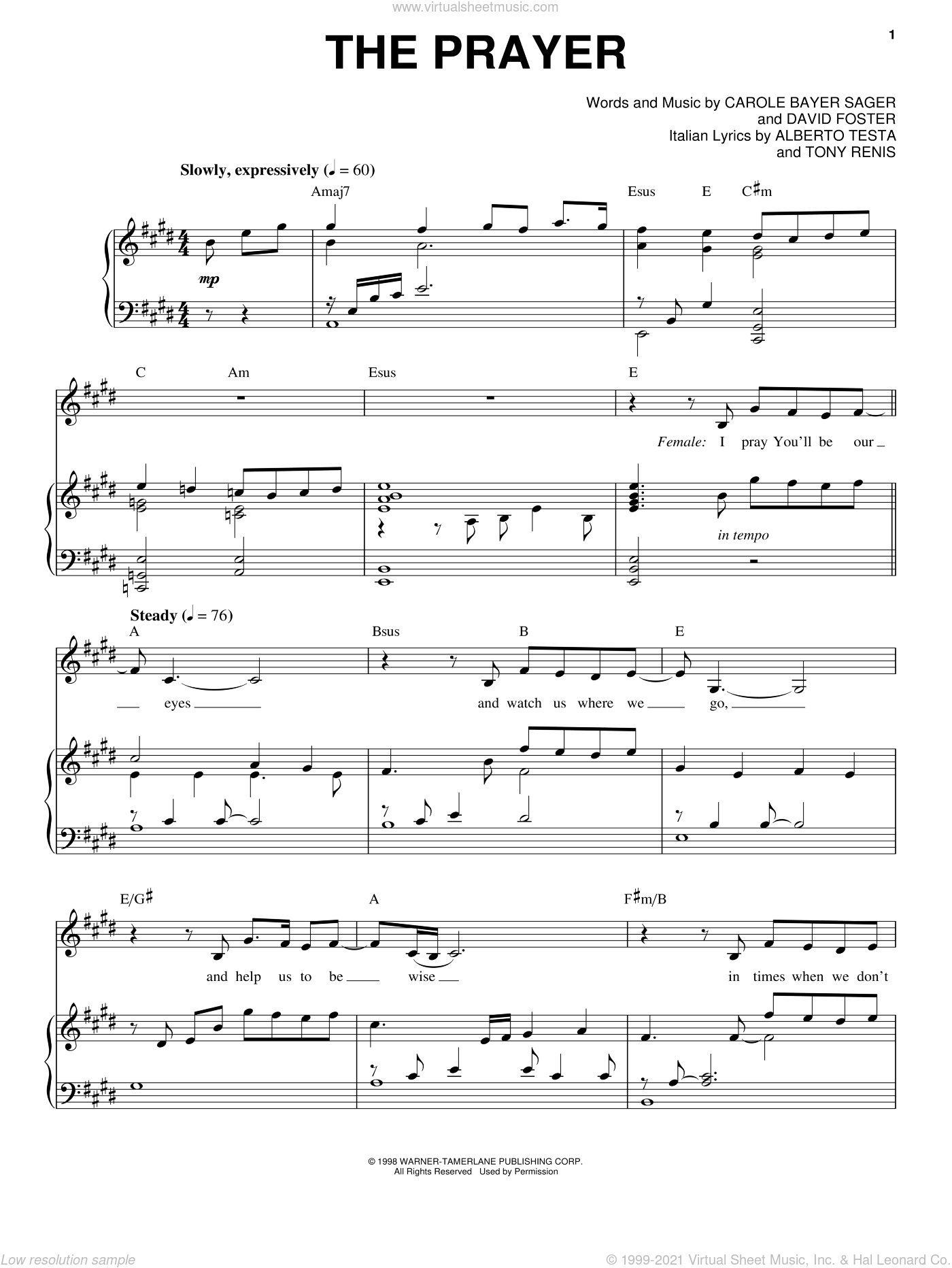 The Prayer sheet music for voice and piano by Josh Groban, Andrea Bocelli, Celine Dion, Carole Bayer Sager and David Foster, intermediate skill level