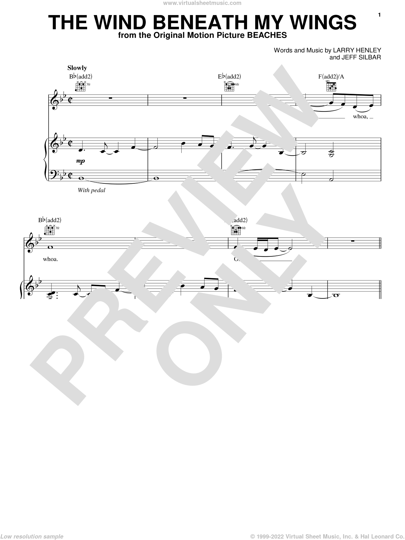 The Wind Beneath My Wings sheet music for voice and piano by Bette Midler, Jeff Silbar and Larry Henley, intermediate skill level