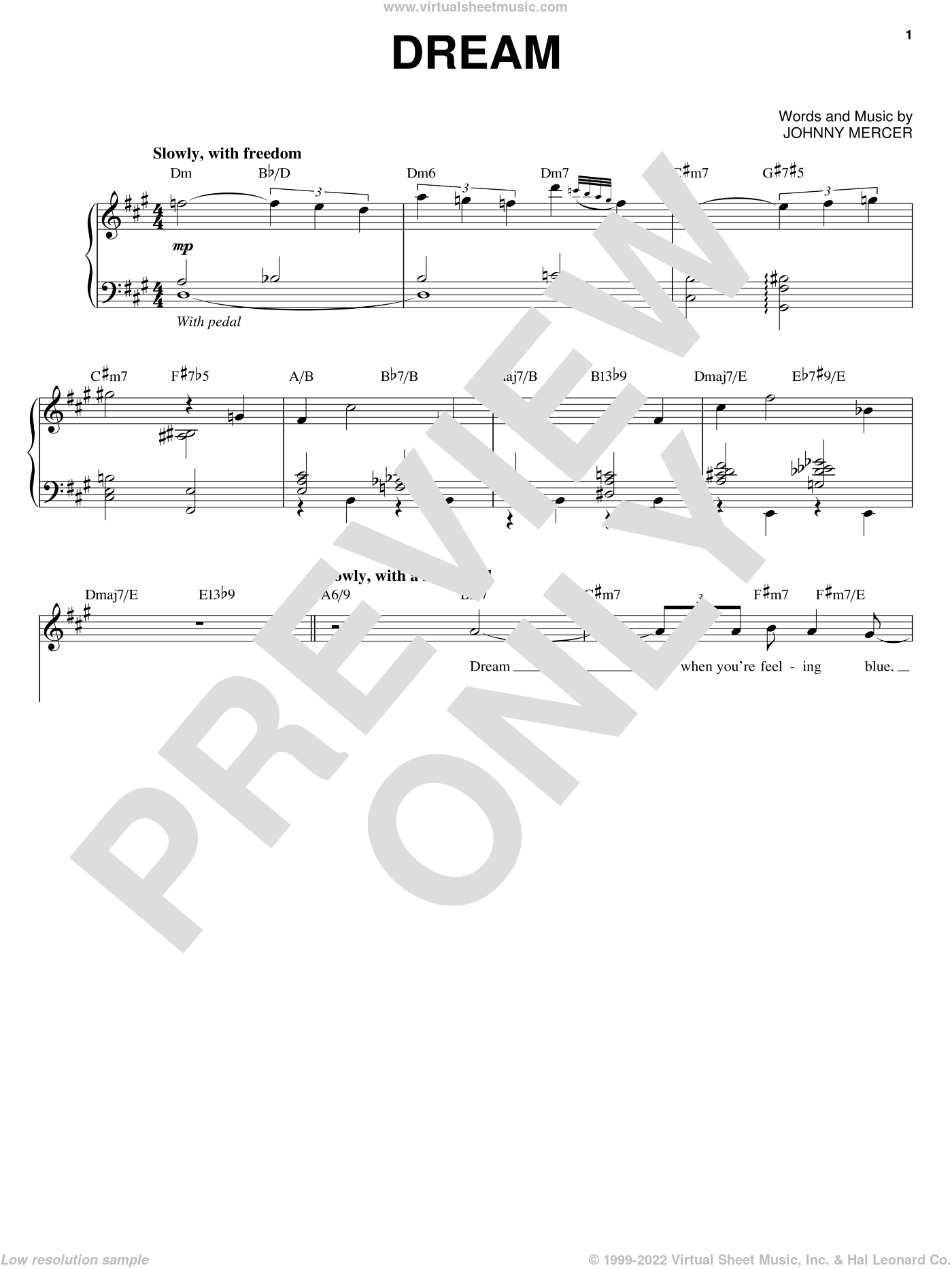 Dream sheet music for voice and piano by Michael Buble, Frank Sinatra and Johnny Mercer, wedding score, intermediate skill level