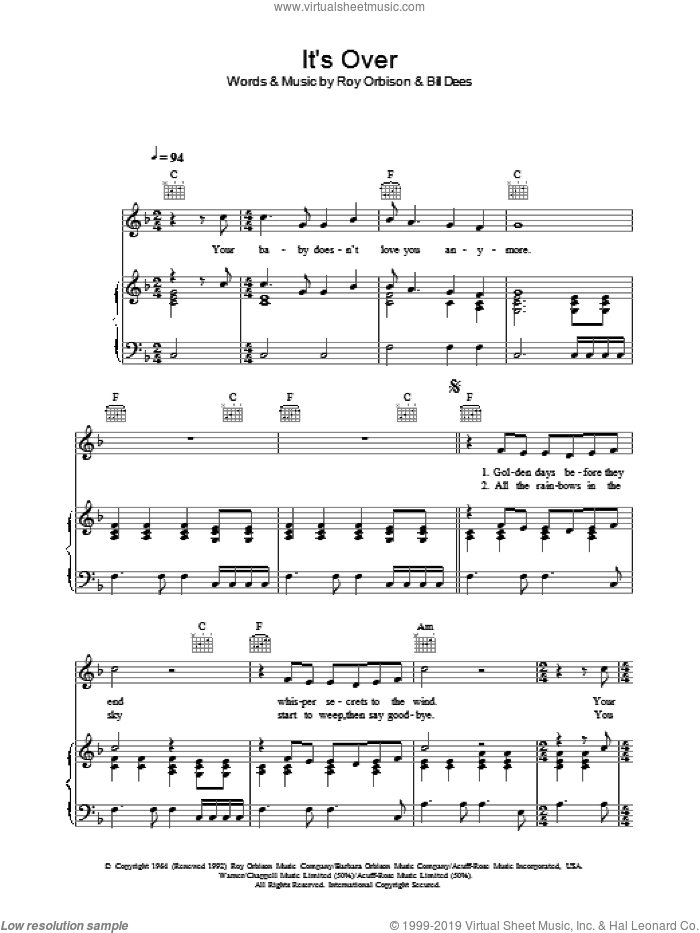 It's Over sheet music for voice, piano or guitar by Bill Dees