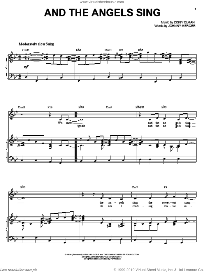 And The Angels Sing sheet music for voice and piano by Benny Goodman, Johnny Mercer and Ziggy Elman, intermediate skill level