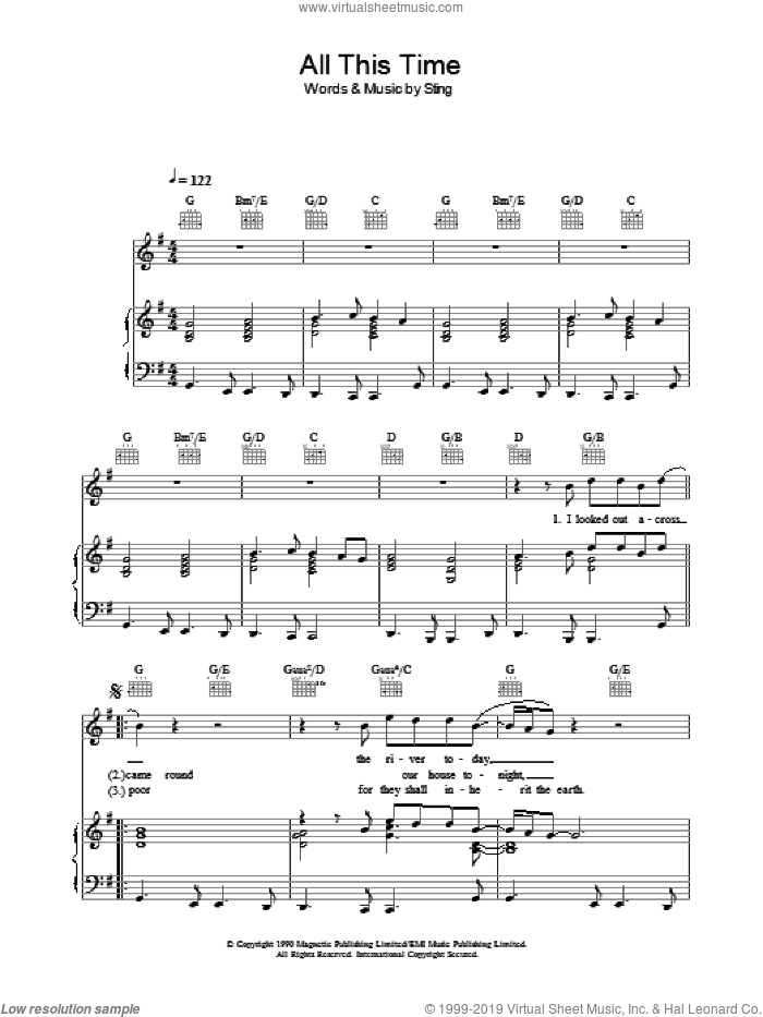 All This Time sheet music for voice, piano or guitar by Sting. Score Image Preview.