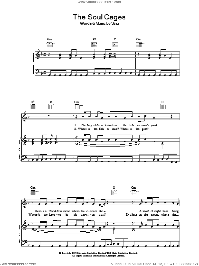 The Soul Cages sheet music for voice, piano or guitar by Sting