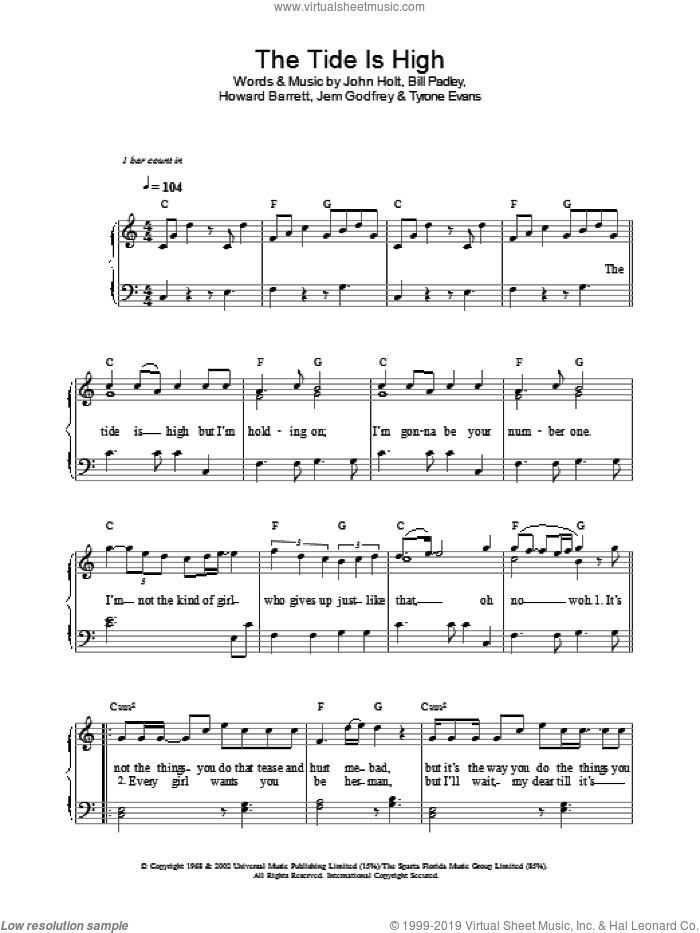 The Tide Is High (Get The Feeling) sheet music for voice, piano or guitar by Atomic Kitten and John Holt, intermediate voice, piano or guitar. Score Image Preview.