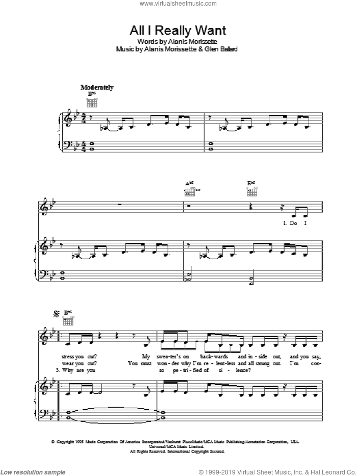 All I Really Want sheet music for voice, piano or guitar by Alanis Morissette and Glen Ballard, intermediate skill level