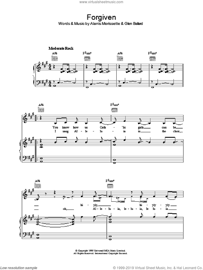 Forgiven sheet music for voice, piano or guitar by Glen Ballard and Alanis Morissette. Score Image Preview.