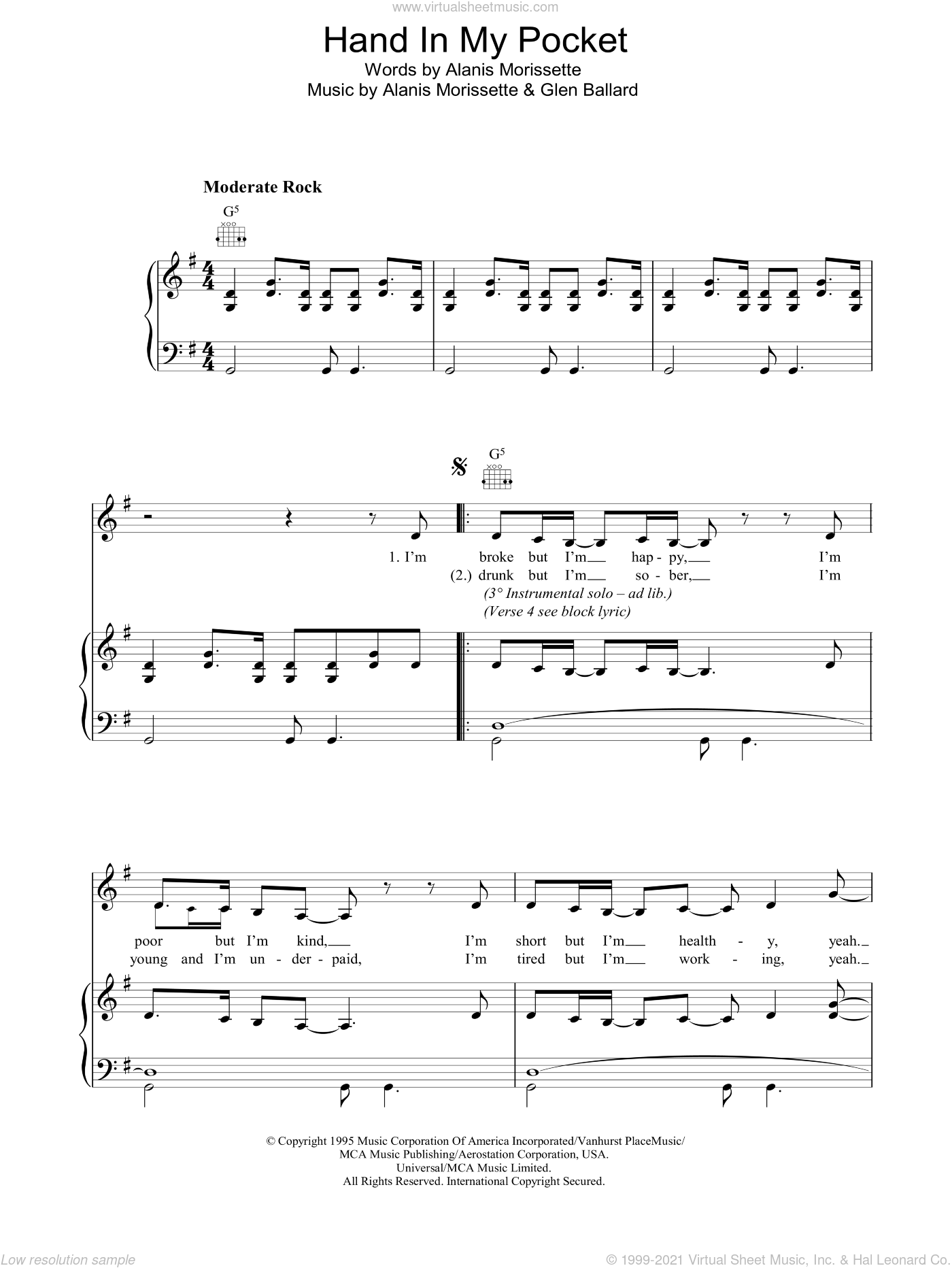 Hand In My Pocket sheet music for voice, piano or guitar by Glen Ballard and Alanis Morissette. Score Image Preview.