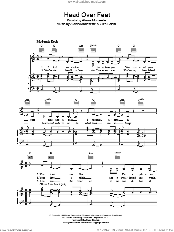 Head Over Feet sheet music for voice, piano or guitar by Alanis Morissette and Glen Ballard, intermediate. Score Image Preview.