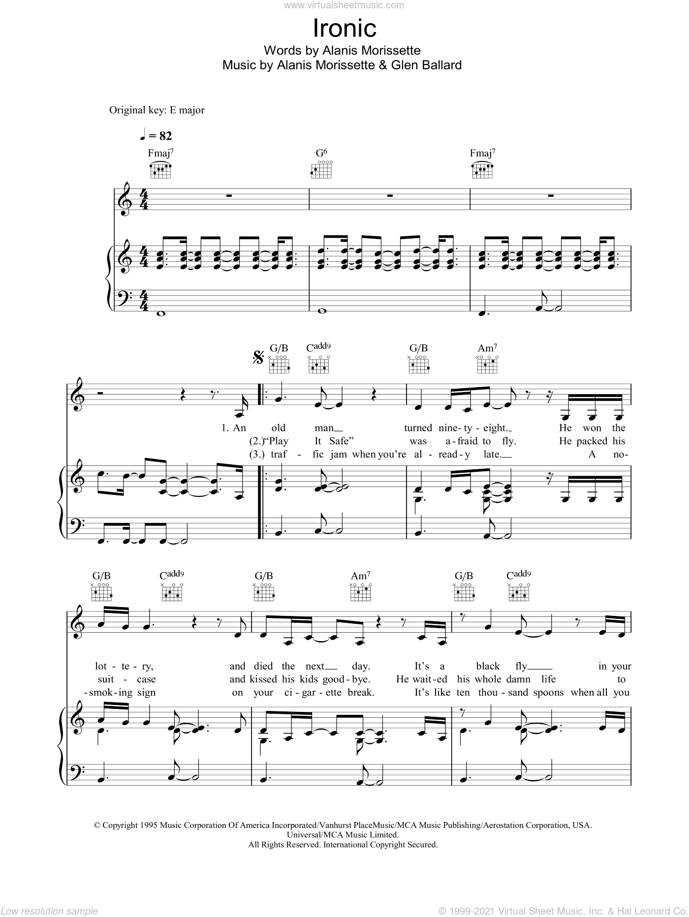 Ironic sheet music for voice, piano or guitar by Alanis Morissette and Glen Ballard, intermediate skill level