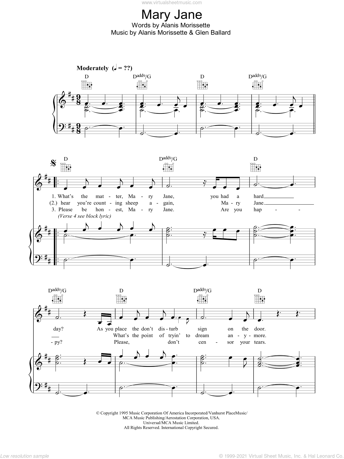 Mary Jane sheet music for voice, piano or guitar by Glen Ballard and Alanis Morissette. Score Image Preview.